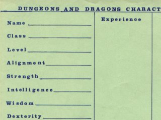A very old version of the Dungeons and Dragons character sheet.