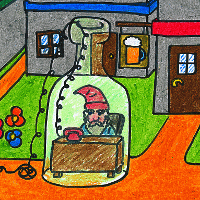The Mayor of Oddness Standing, a gnarf trapped in a giant bottle.