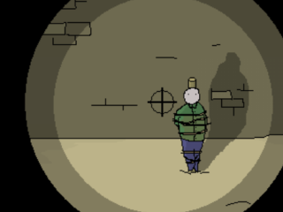 A nameless man, tied to a post, is visible through the scope of a gun.