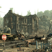 A screenshot of a damaged house and surroundings from Fallout 3.