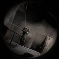 An enemy from F.E.A.R. seen through the scope of a sniper rifle