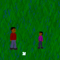 A screenshot from Passing the Ball showing a parent and child in a field of grass.