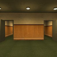 A screenshot of two identical doors from The Stanley Parable