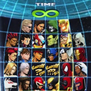 The character select screen for Marvel vs Capcom 3
